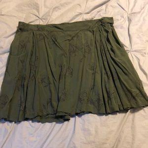 Olive Green Floral Skirt
